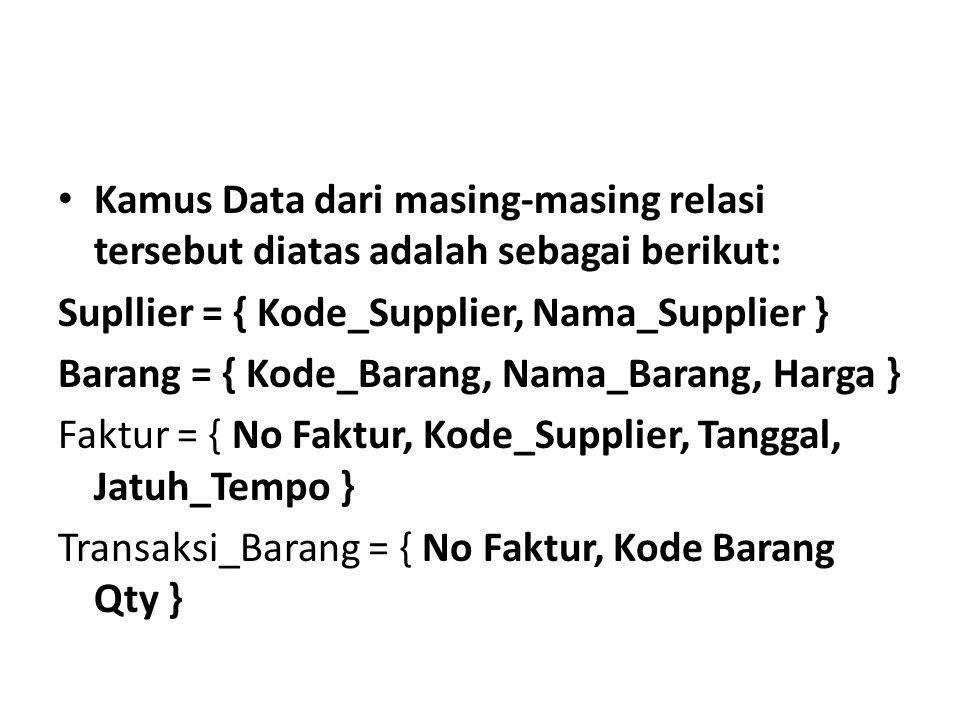 Kamus Data dari masing-masing relasi tersebut diatas adalah sebagai berikut: Supllier = { Kode_Supplier, Nama_Supplier } Barang = { Kode_Barang, Nama_