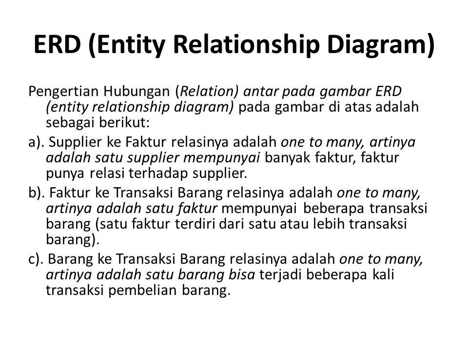 Pengertian Hubungan (Relation) antar pada gambar ERD (entity relationship diagram) pada gambar di atas adalah sebagai berikut: a). Supplier ke Faktur