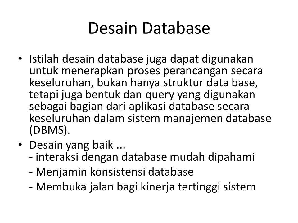 Desain Database Istilah desain database juga dapat digunakan untuk menerapkan proses perancangan secara keseluruhan, bukan hanya struktur data base, t
