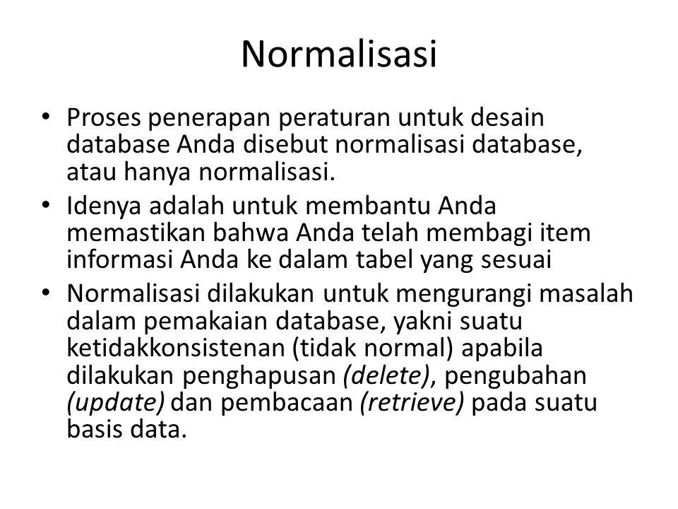Normalisasi Bentuk normalisasi adalah suatu aturan yang dikenakan pada tabel-tabel dalam basis data dan harus dipenuhi oleh tabel-tabel tersebut pada level-level normalisasi.