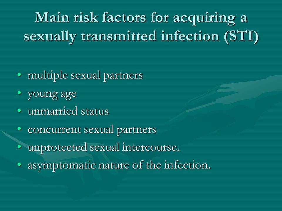 Clinical manifestation Ulkus genital: genital herpes, syphilis, chancroidUlkus genital: genital herpes, syphilis, chancroid Urethritis and cervicitis :gonorrhea, nongonococcal urethritisUrethritis and cervicitis :gonorrhea, nongonococcal urethritis Vulvovaginitis: Candidiasis, Bacterial vaginosis, TrichomoniasisVulvovaginitis: Candidiasis, Bacterial vaginosis, Trichomoniasis other STIsother STIs
