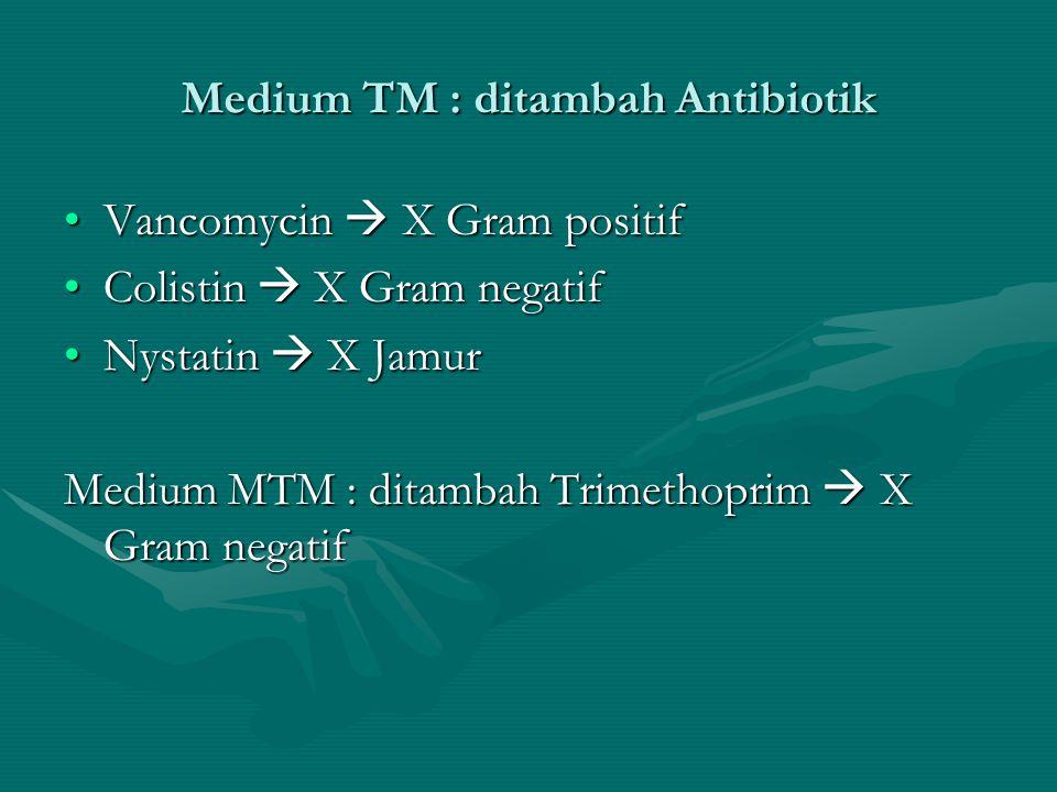 Medium TM : ditambah Antibiotik Vancomycin  X Gram positifVancomycin  X Gram positif Colistin  X Gram negatifColistin  X Gram negatif Nystatin  X