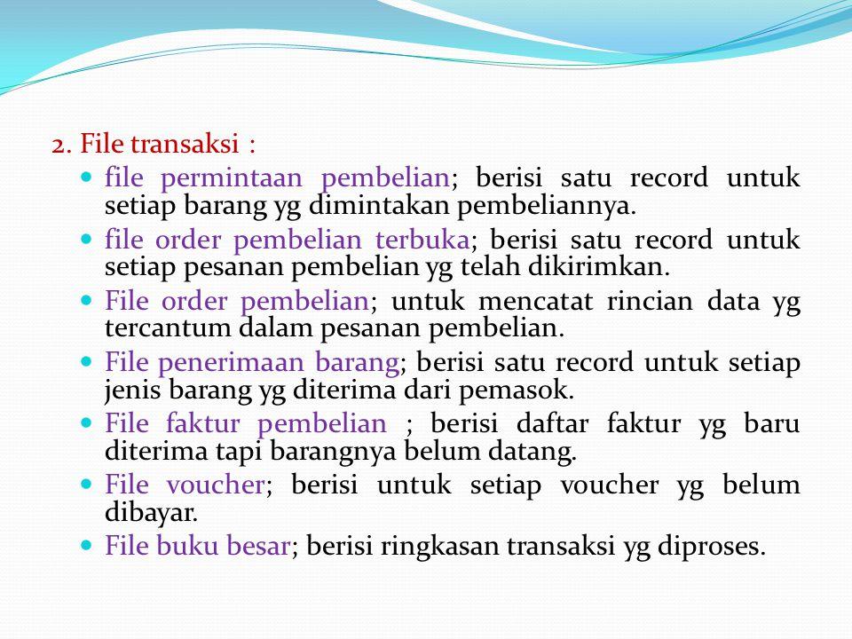 2. File transaksi : file permintaan pembelian; berisi satu record untuk setiap barang yg dimintakan pembeliannya. file order pembelian terbuka; berisi