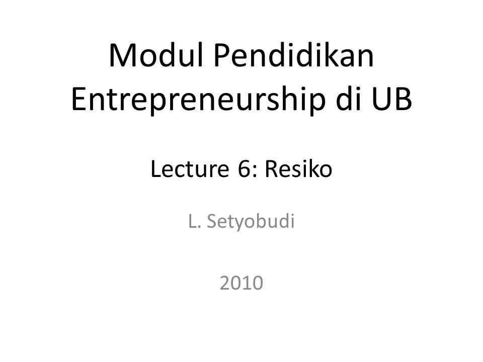 L. Setyobudi 2010 Modul Pendidikan Entrepreneurship di UB Lecture 6: Resiko