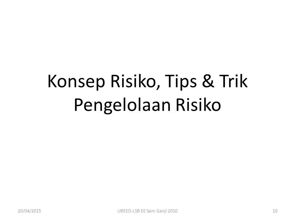Konsep Risiko, Tips & Trik Pengelolaan Risiko 20/04/201510UBEED-LSB EE Sem Ganjl 2010