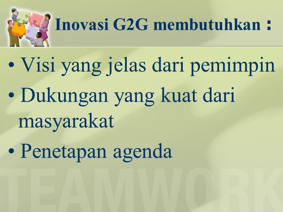 Inovasi G2G membutuhkan : Visi yang jelas dari pemimpin Dukungan yang kuat dari masyarakat Penetapan agenda