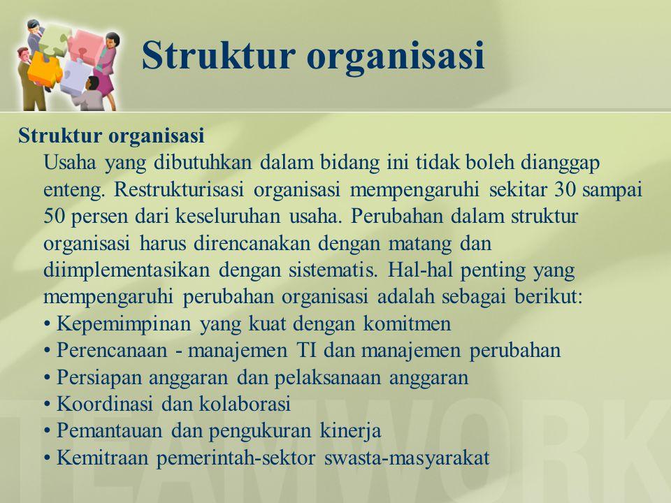 Struktur organisasi Struktur organisasi Usaha yang dibutuhkan dalam bidang ini tidak boleh dianggap enteng. Restrukturisasi organisasi mempengaruhi se