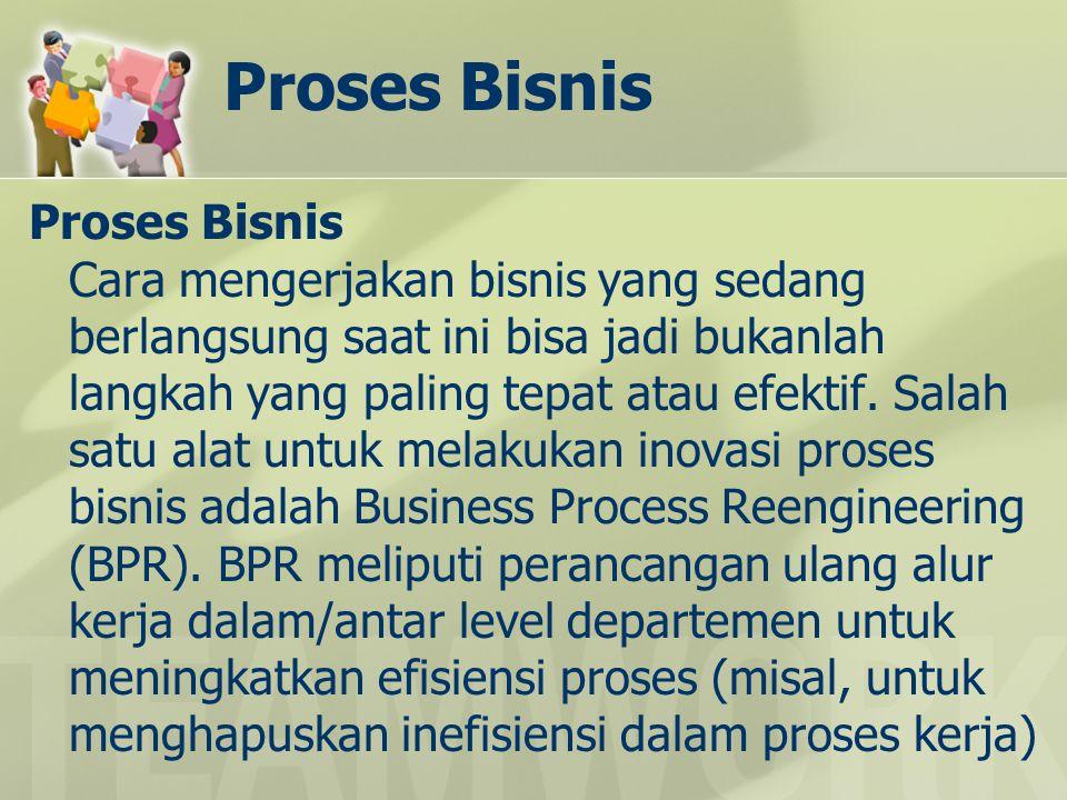 Proses Bisnis Proses Bisnis Cara mengerjakan bisnis yang sedang berlangsung saat ini bisa jadi bukanlah langkah yang paling tepat atau efektif. Salah