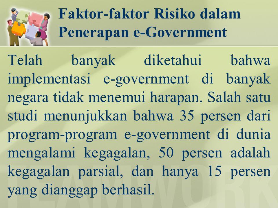Faktor-faktor Risiko dalam Penerapan e-Government Telah banyak diketahui bahwa implementasi e-government di banyak negara tidak menemui harapan. Salah