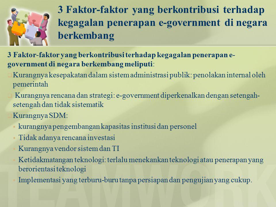 3 Faktor-faktor yang berkontribusi terhadap kegagalan penerapan e-government di negara berkembang 3 Faktor-faktor yang berkontribusi terhadap kegagala