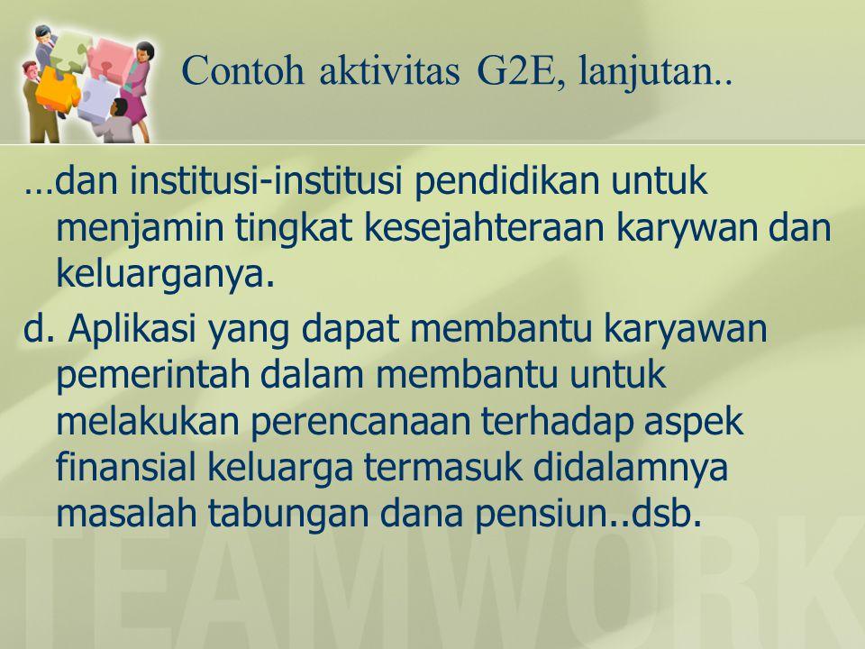 Contoh aktivitas G2E, lanjutan.. …dan institusi-institusi pendidikan untuk menjamin tingkat kesejahteraan karywan dan keluarganya. d. Aplikasi yang da