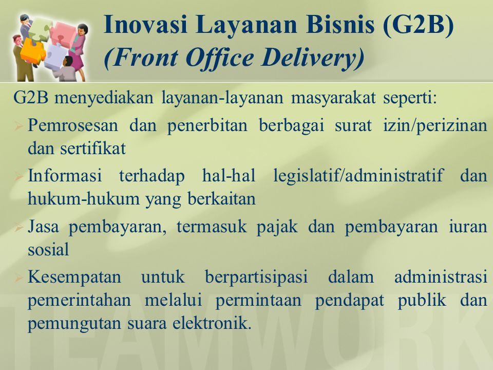 Inovasi Layanan Bisnis (G2B) (Front Office Delivery) G2B menyediakan layanan-layanan masyarakat seperti:  Pemrosesan dan penerbitan berbagai surat iz
