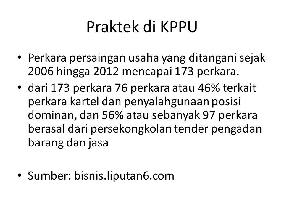 Praktek di KPPU Perkara persaingan usaha yang ditangani sejak 2006 hingga 2012 mencapai 173 perkara. dari 173 perkara 76 perkara atau 46% terkait perk