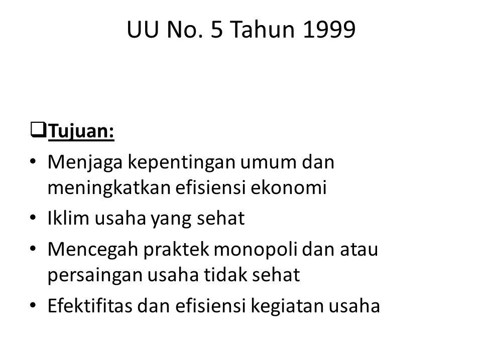UU No. 5 Tahun 1999  Tujuan: Menjaga kepentingan umum dan meningkatkan efisiensi ekonomi Iklim usaha yang sehat Mencegah praktek monopoli dan atau pe
