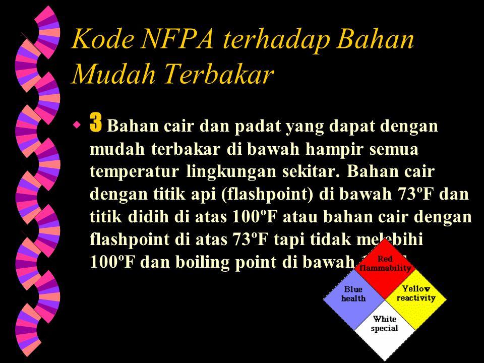 Kode NFPA terhadap Bahan Mudah Terbakar  4 Material yang akan dengan cepat w terbakar atau menguap semuanya pada tekanan atmosfir dan temperatur norm