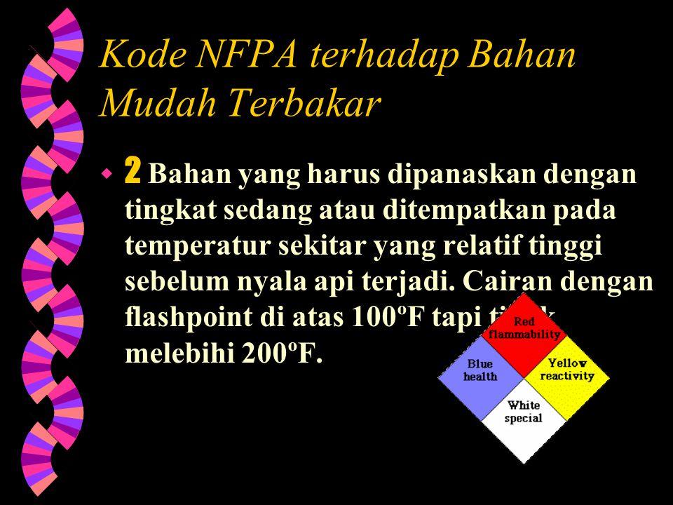 Kode NFPA terhadap Bahan Mudah Terbakar  3 Bahan cair dan padat yang dapat dengan mudah terbakar di bawah hampir semua temperatur lingkungan sekitar.