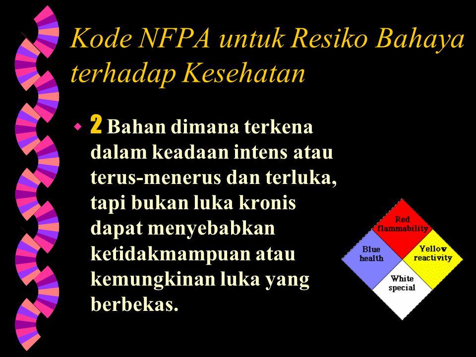 Kode NFPA untuk Resiko Bahaya terhadap Kesehatan  4 Bahan dimana jika terkena dan terluka kecil (short exposure) dapat menyebabkan kematian atau luka