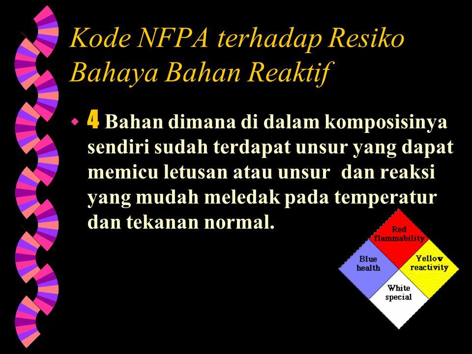 Kode NFPA untuk Resiko Bahaya terhadap Kesehatan  1 Bahan dimana jika terkena dan terluka dapat menyebabkan iritasi tapi hanya luka berbekas yang kec