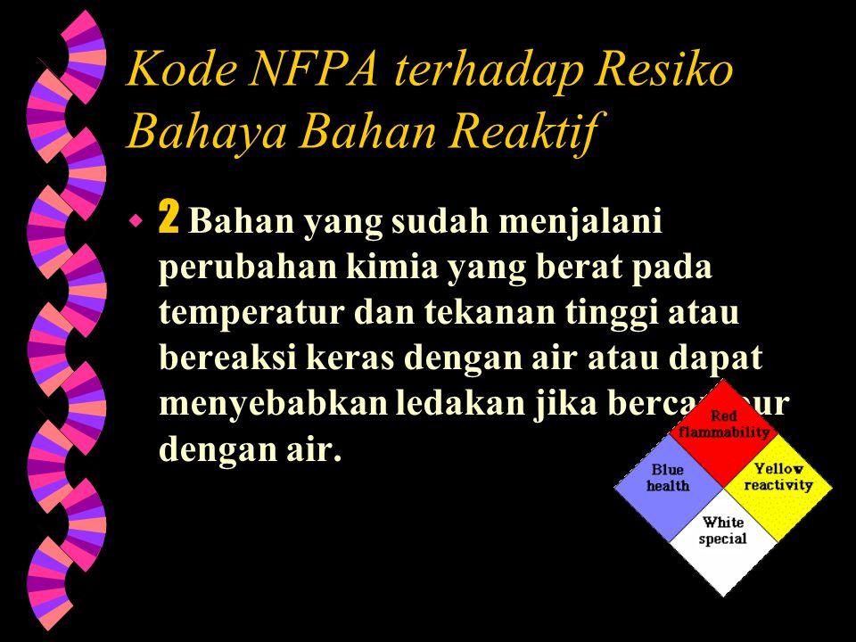 Kode NFPA terhadap Resiko Bahaya Bahan Reaktif  3 Bahan dimana di dalam komposisinya sendiri sudah terdapat unsur yang dapat memicu letusan atau unsu