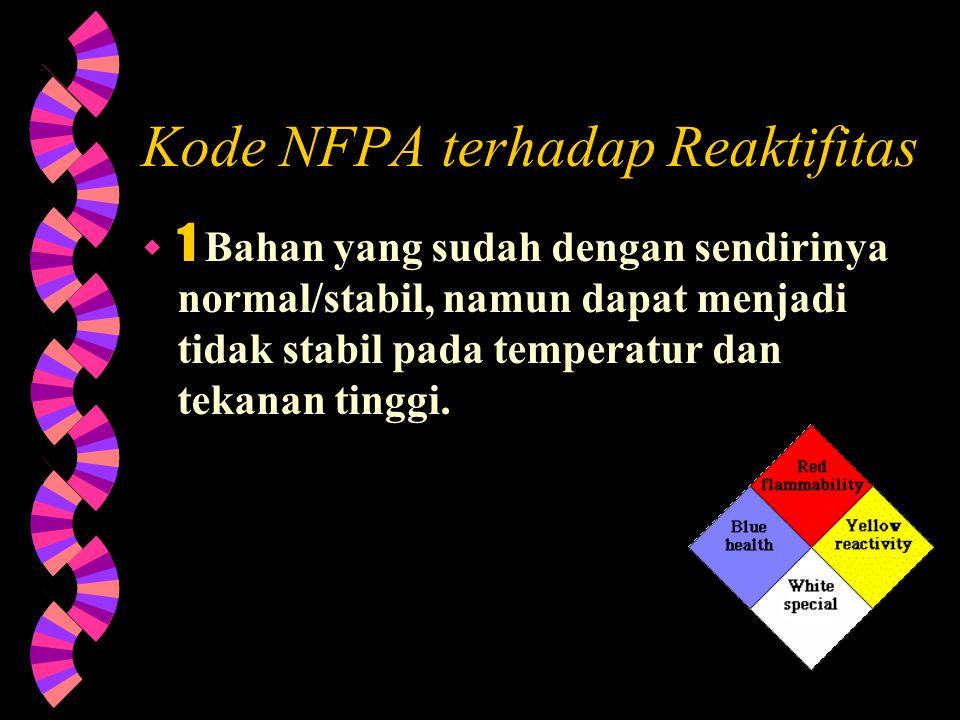 Kode NFPA terhadap Resiko Bahaya Bahan Reaktif  2 Bahan yang sudah menjalani perubahan kimia yang berat pada temperatur dan tekanan tinggi atau berea