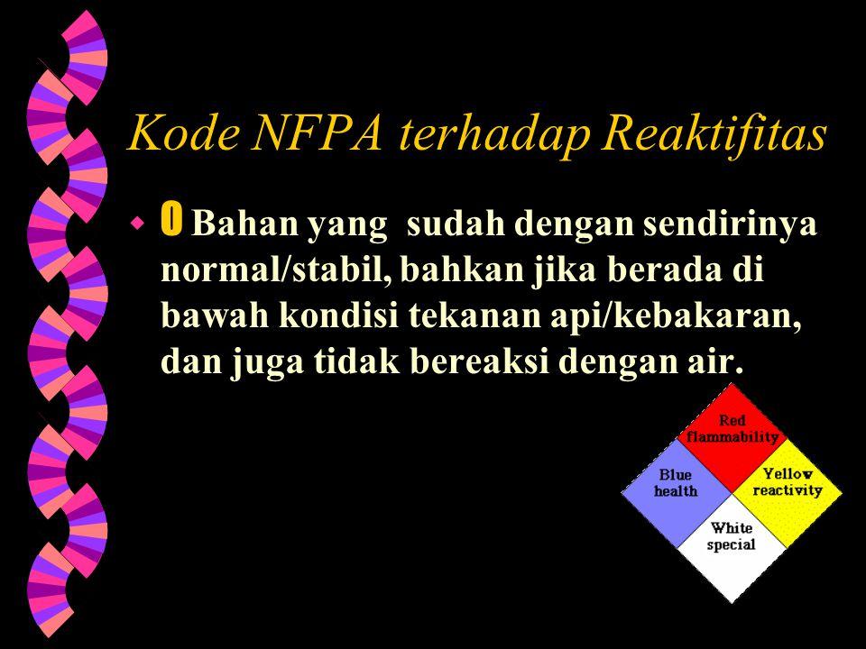 Kode NFPA terhadap Reaktifitas  1 Bahan yang sudah dengan sendirinya normal/stabil, namun dapat menjadi tidak stabil pada temperatur dan tekanan ting