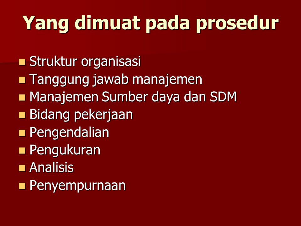 Setiap materi prosedur berisi: 1.Kebijakan umum. a.