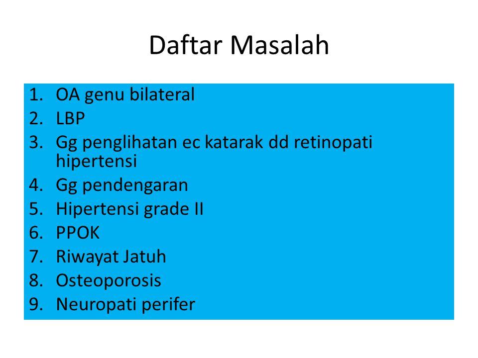 Daftar Masalah 1.OA genu bilateral 2.LBP 3.Gg penglihatan ec katarak dd retinopati hipertensi 4.Gg pendengaran 5.Hipertensi grade II 6.PPOK 7.Riwayat Jatuh 8.Osteoporosis 9.Neuropati perifer