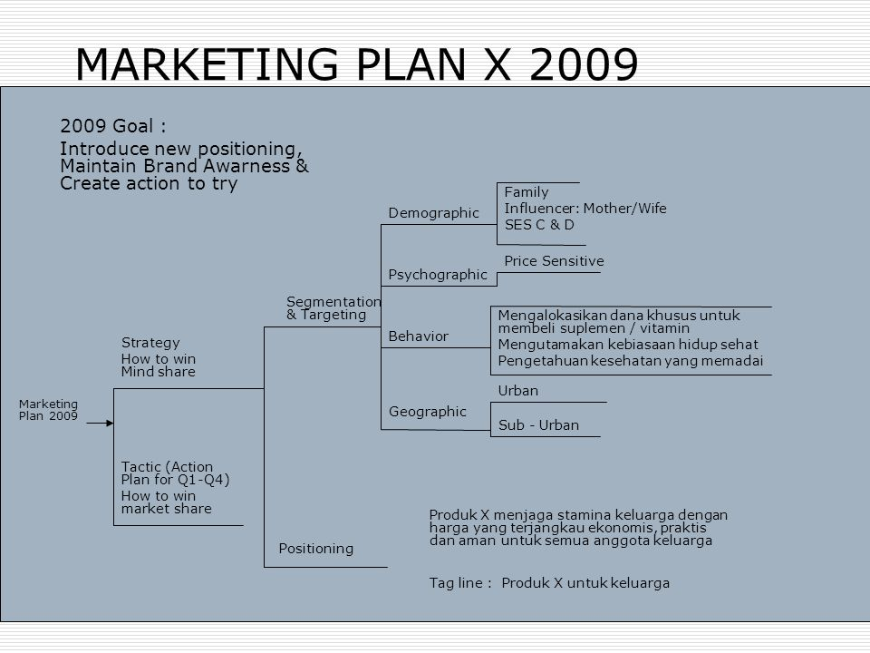 MARKETING PLAN X 2009 Marketing Plan 2009 Strategy How to win Mind share Segmentation & Targeting Positioning Psychographic Urban Tag line : Produk X
