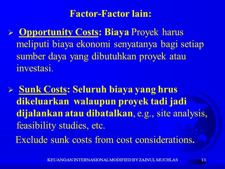 13  Opportunity Costs: Biaya Proyek harus meliputi biaya ekonomi senyatanya bagi setiap sumber daya yang dibutuhkan proyek atau investasi.  Sunk Cos