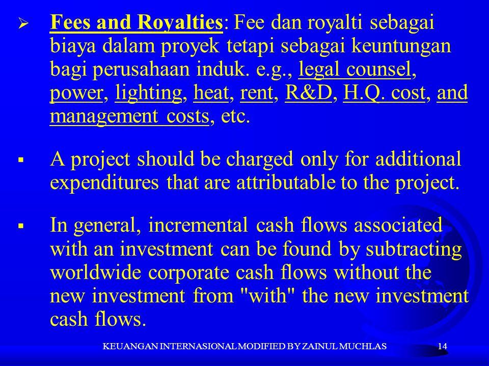 14  Fees and Royalties: Fee dan royalti sebagai biaya dalam proyek tetapi sebagai keuntungan bagi perusahaan induk. e.g., legal counsel, power, light
