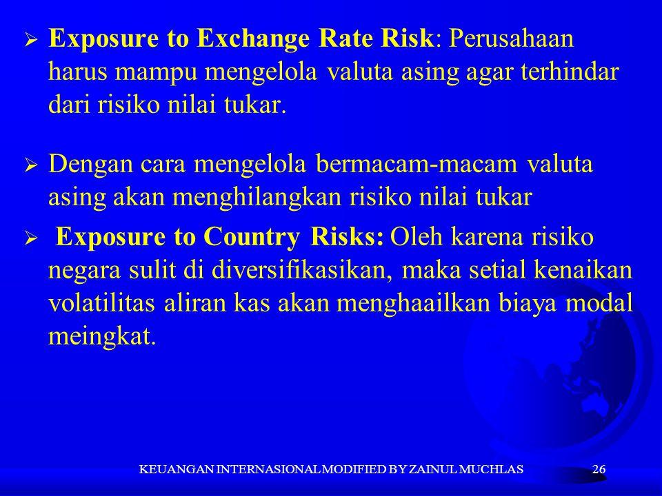 26  Exposure to Exchange Rate Risk: Perusahaan harus mampu mengelola valuta asing agar terhindar dari risiko nilai tukar.  Dengan cara mengelola ber