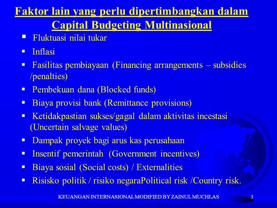 3 Faktor lain yang perlu dipertimbangkan dalam Capital Budgeting Multinasional  Fluktuasi nilai tukar  Inflasi  Fasilitas pembiayaan (Financing arr