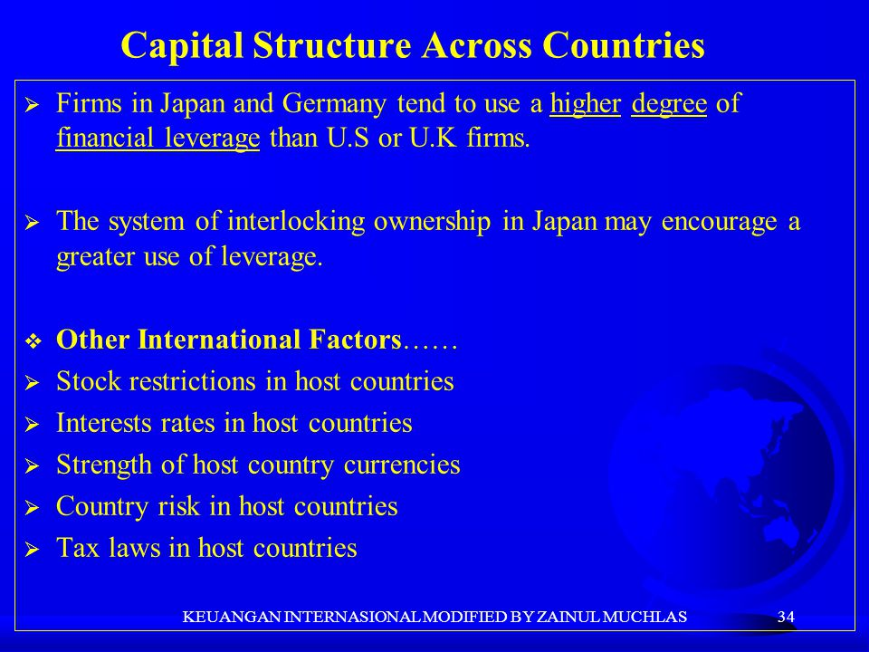 34  Firms in Japan and Germany tend to use a higher degree of financial leverage than U.S or U.K firms.  The system of interlocking ownership in Jap