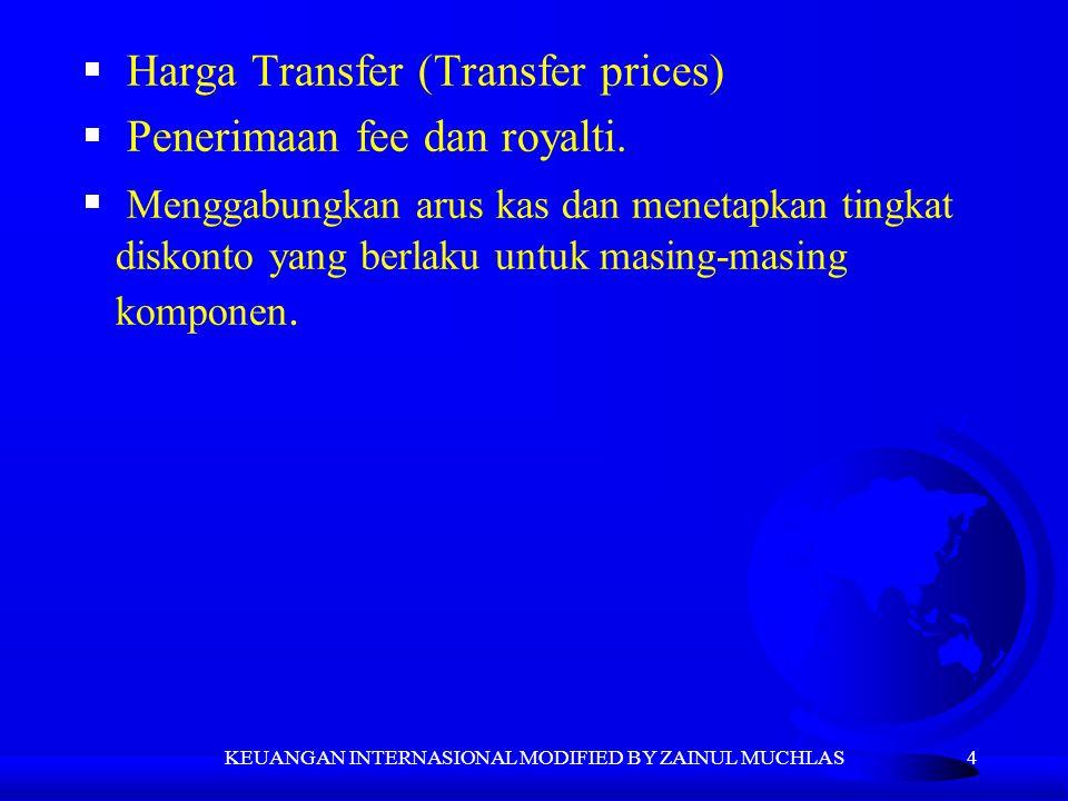 4  Harga Transfer (Transfer prices)  Penerimaan fee dan royalti.  Menggabungkan arus kas dan menetapkan tingkat diskonto yang berlaku untuk masing-