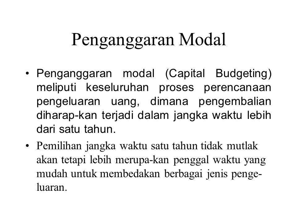 Penganggaran Modal Penganggaran modal (Capital Budgeting) meliputi keseluruhan proses perencanaan pengeluaran uang, dimana pengembalian diharap-kan te