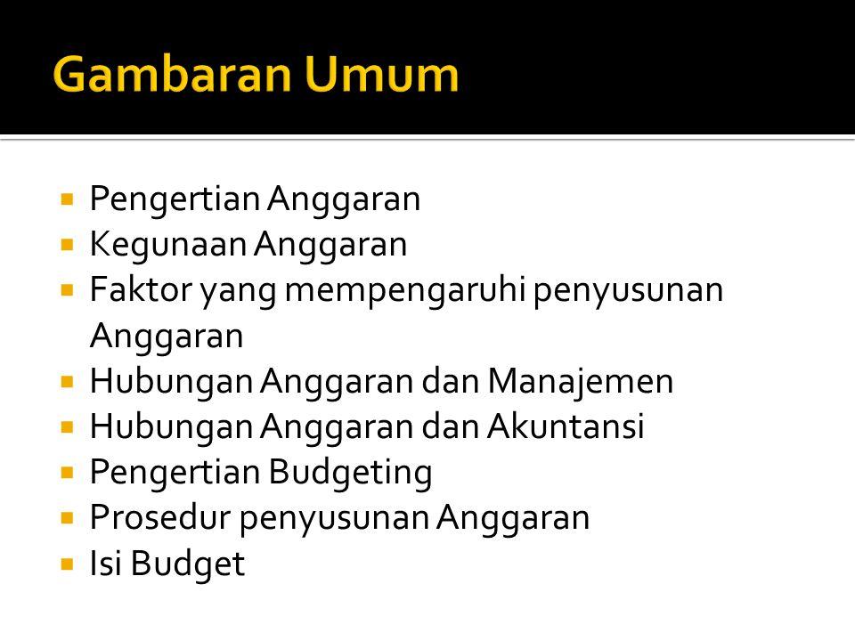  Pengertian Anggaran  Kegunaan Anggaran  Faktor yang mempengaruhi penyusunan Anggaran  Hubungan Anggaran dan Manajemen  Hubungan Anggaran dan Akuntansi  Pengertian Budgeting  Prosedur penyusunan Anggaran  Isi Budget
