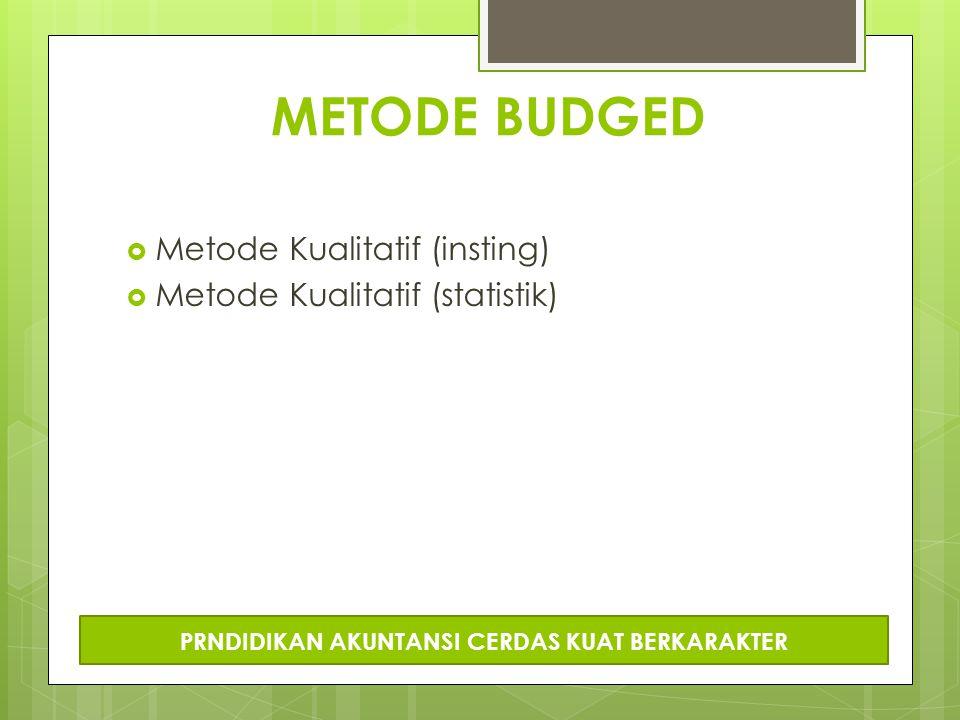 METODE BUDGED  Metode Kualitatif (insting)  Metode Kualitatif (statistik) PRNDIDIKAN AKUNTANSI CERDAS KUAT BERKARAKTER