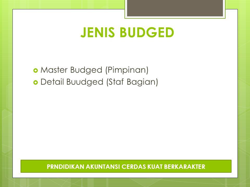 JENIS BUDGED  Master Budged (Pimpinan)  Detail Buudged (Staf Bagian) PRNDIDIKAN AKUNTANSI CERDAS KUAT BERKARAKTER