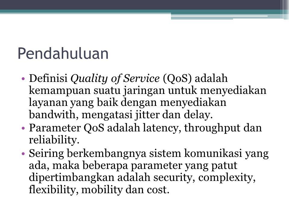 Pendahuluan Definisi Quality of Service (QoS) adalah kemampuan suatu jaringan untuk menyediakan layanan yang baik dengan menyediakan bandwith, mengata