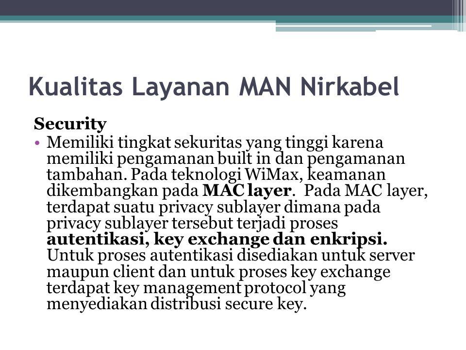 Kualitas Layanan MAN Nirkabel Security Memiliki tingkat sekuritas yang tinggi karena memiliki pengamanan built in dan pengamanan tambahan. Pada teknol