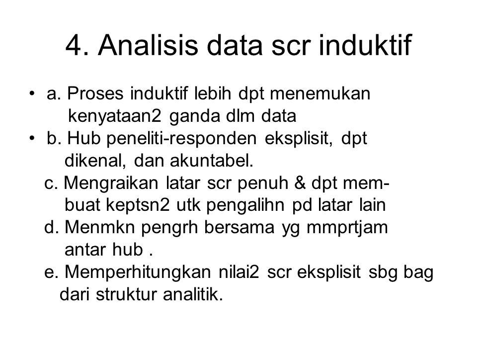 4. Analisis data scr induktif a. Proses induktif lebih dpt menemukan kenyataan2 ganda dlm data b. Hub peneliti-responden eksplisit, dpt dikenal, dan a