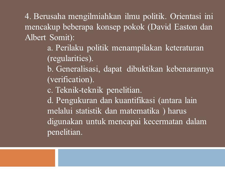 4.Berusaha mengilmiahkan ilmu politik.