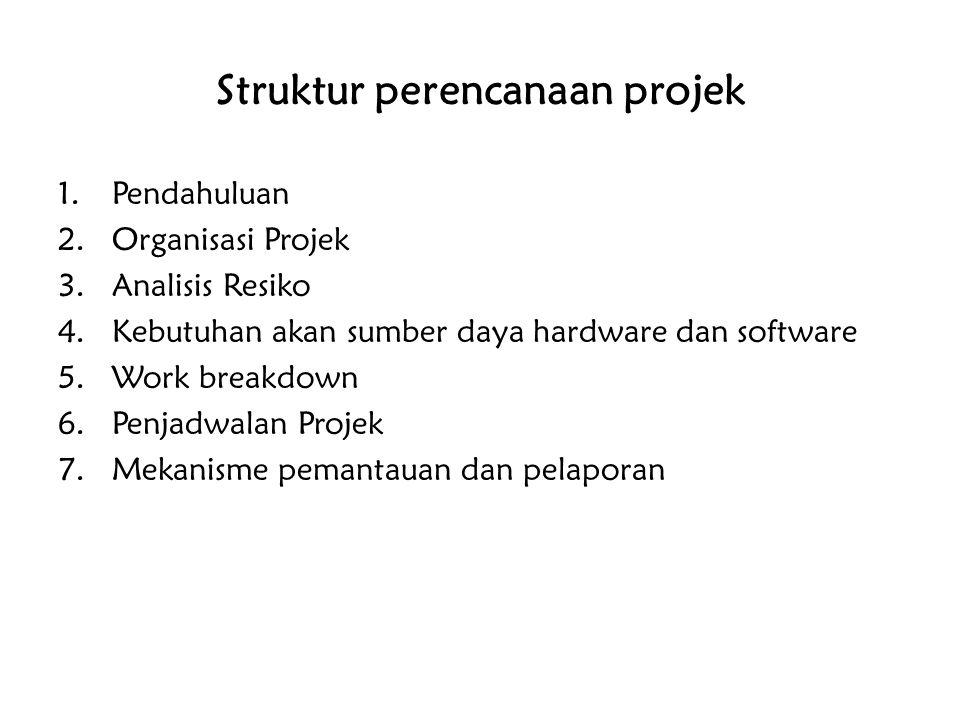 Struktur perencanaan projek 1.Pendahuluan 2.Organisasi Projek 3.Analisis Resiko 4.Kebutuhan akan sumber daya hardware dan software 5.Work breakdown 6.