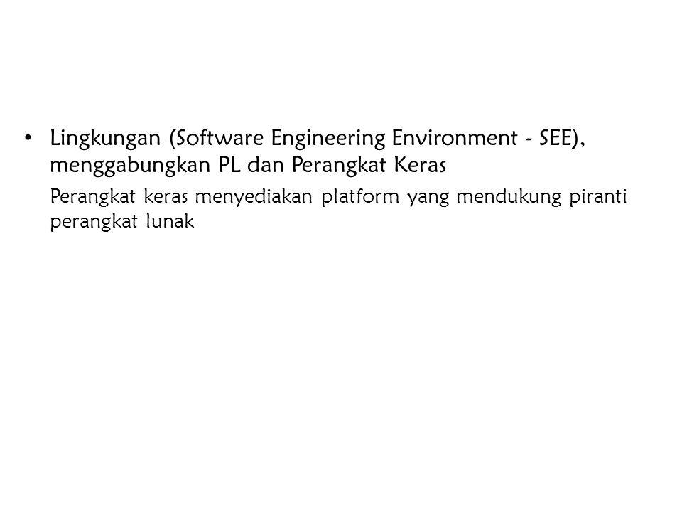 Lingkungan (Software Engineering Environment - SEE), menggabungkan PL dan Perangkat Keras Perangkat keras menyediakan platform yang mendukung piranti
