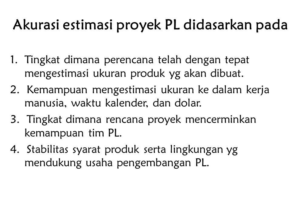 Akurasi estimasi proyek PL didasarkan pada 1. Tingkat dimana perencana telah dengan tepat mengestimasi ukuran produk yg akan dibuat. 2. Kemampuan meng