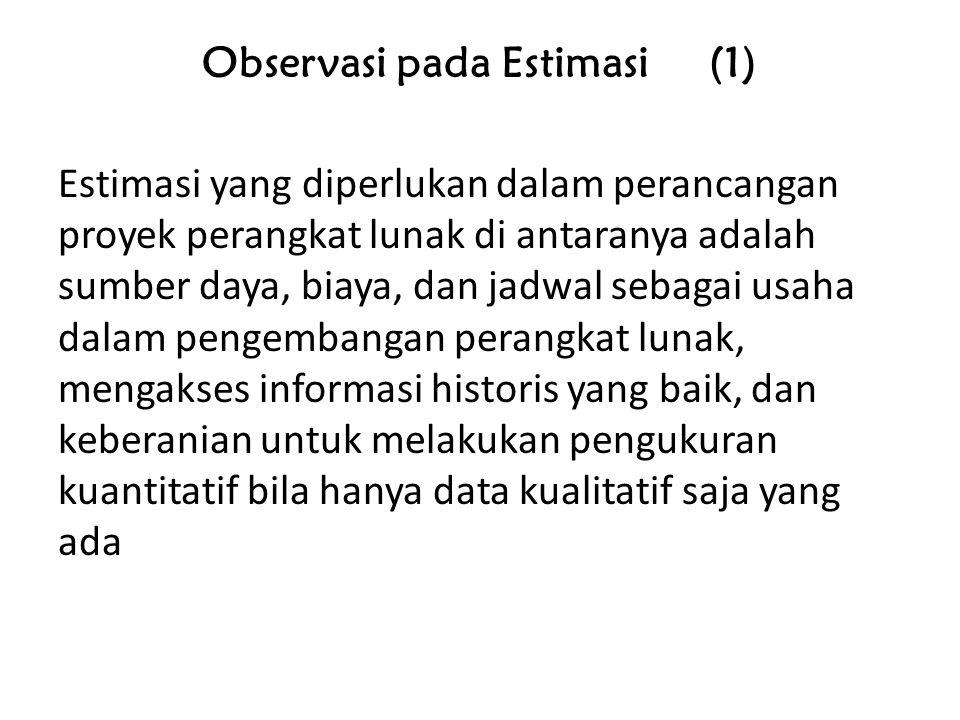 Observasi pada Estimasi (2) Estimasi membawa resiko yang inheren (dari diri sendiri) dan resiko inilah yang membawa ketidakpastian.