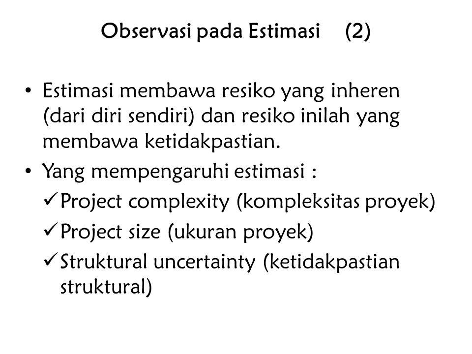 Observasi pada Estimasi (2) Estimasi membawa resiko yang inheren (dari diri sendiri) dan resiko inilah yang membawa ketidakpastian. Yang mempengaruhi