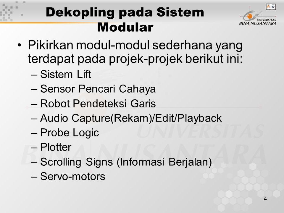 4 Dekopling pada Sistem Modular Pikirkan modul-modul sederhana yang terdapat pada projek-projek berikut ini: –Sistem Lift –Sensor Pencari Cahaya –Robot Pendeteksi Garis –Audio Capture(Rekam)/Edit/Playback –Probe Logic –Plotter –Scrolling Signs (Informasi Berjalan) –Servo-motors