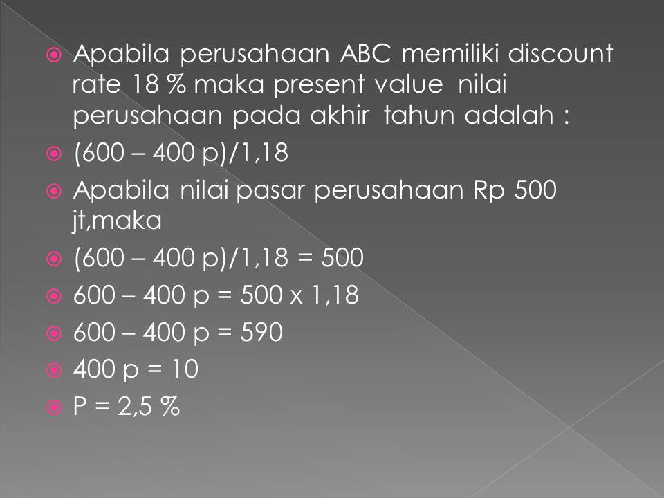  Apabila perusahaan ABC memiliki discount rate 18 % maka present value nilai perusahaan pada akhir tahun adalah :  (600 – 400 p)/1,18  Apabila nila
