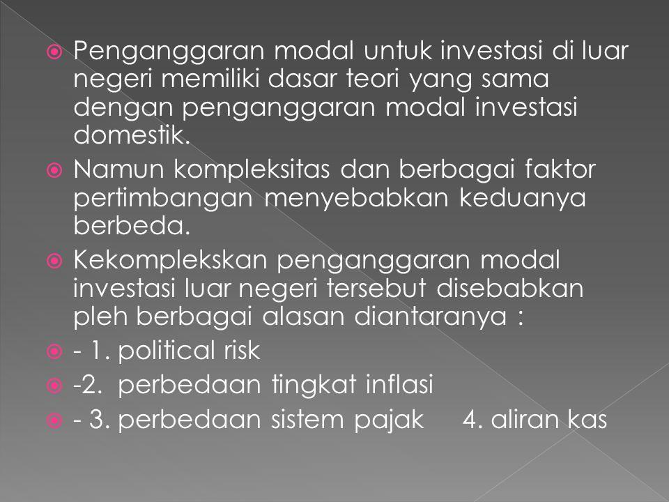  Penganggaran modal untuk investasi di luar negeri memiliki dasar teori yang sama dengan penganggaran modal investasi domestik.  Namun kompleksitas